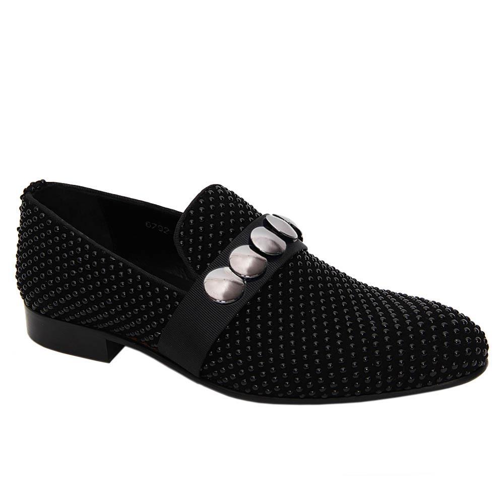 Black Piero Pearl Studded Italian Leather Loafers