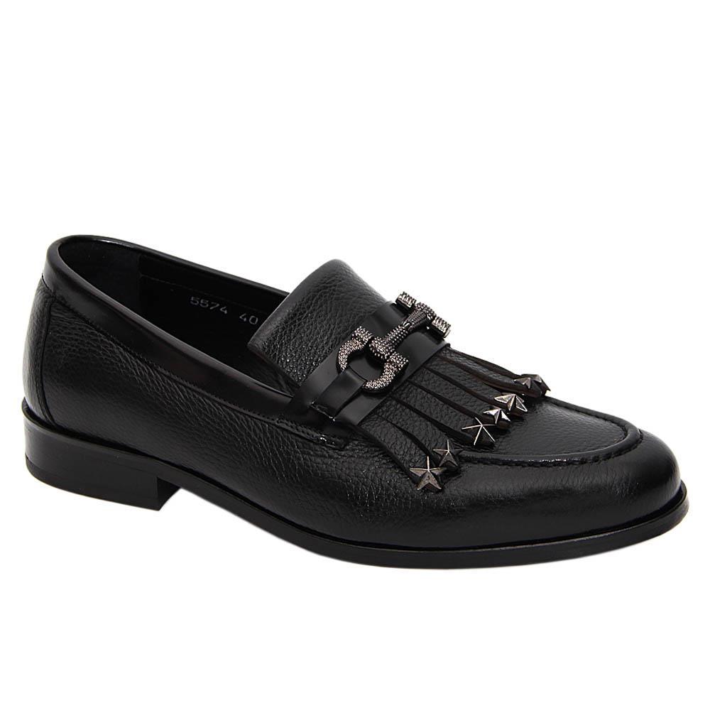 Black Mason Italian Leather Fringe Loafers