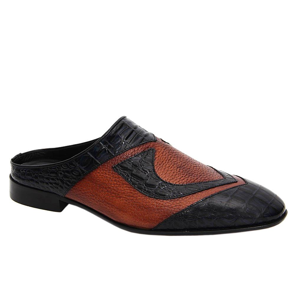 Brown Dark Navy Leonel Italian Leather Half Shoe