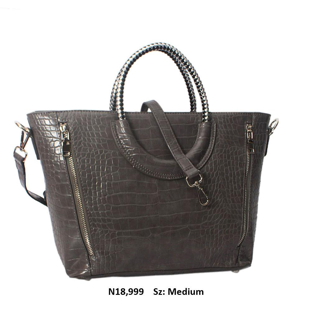 Gray Megan Croc Leather Woven Handle Tote Handbag