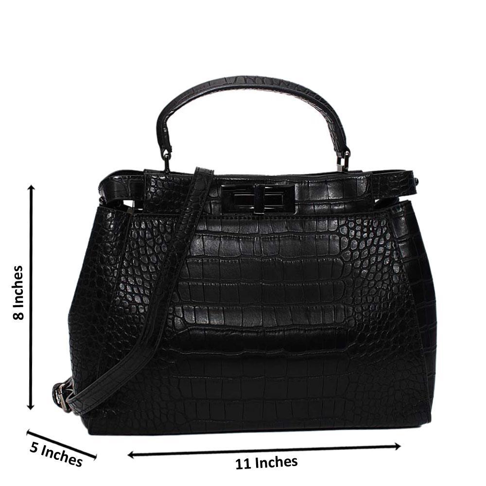 Black Arabella Croc Leather Small Top Handle Handbag