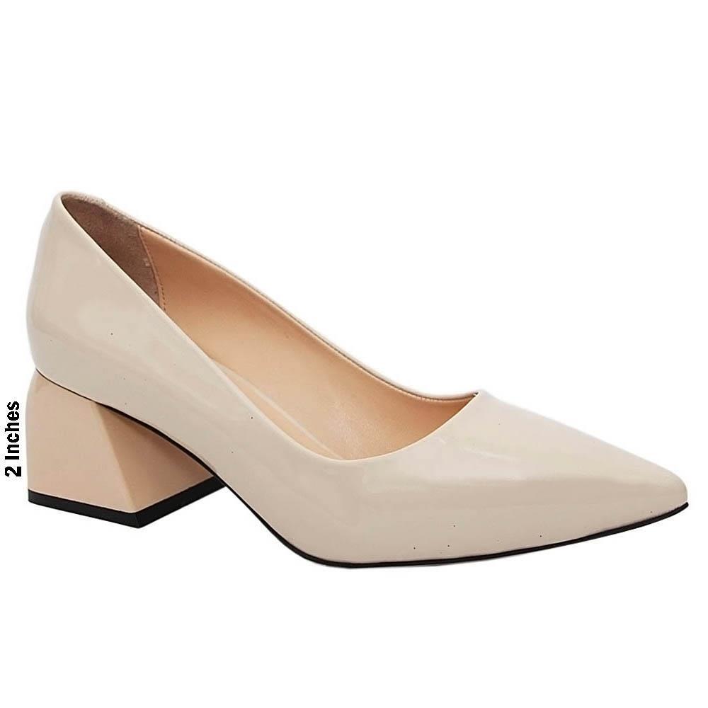 Cream Angelique Patent Italian Leather Mid Heel Pumps