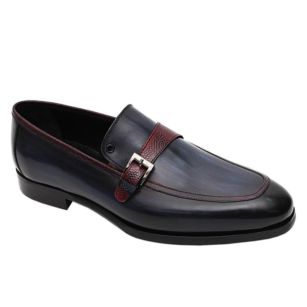 Navy Marcus Italian Leather Monk Strap Loafers