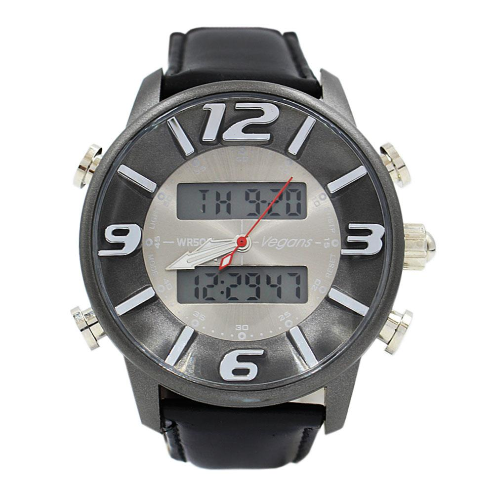Black Leather 5 ATM Water Resistant Analog Digital Watch