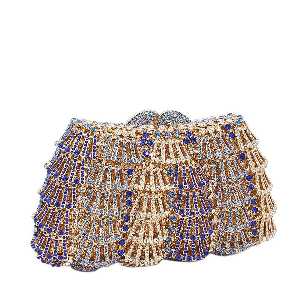 Gold Blue Diamante Crystals Clutch Purse