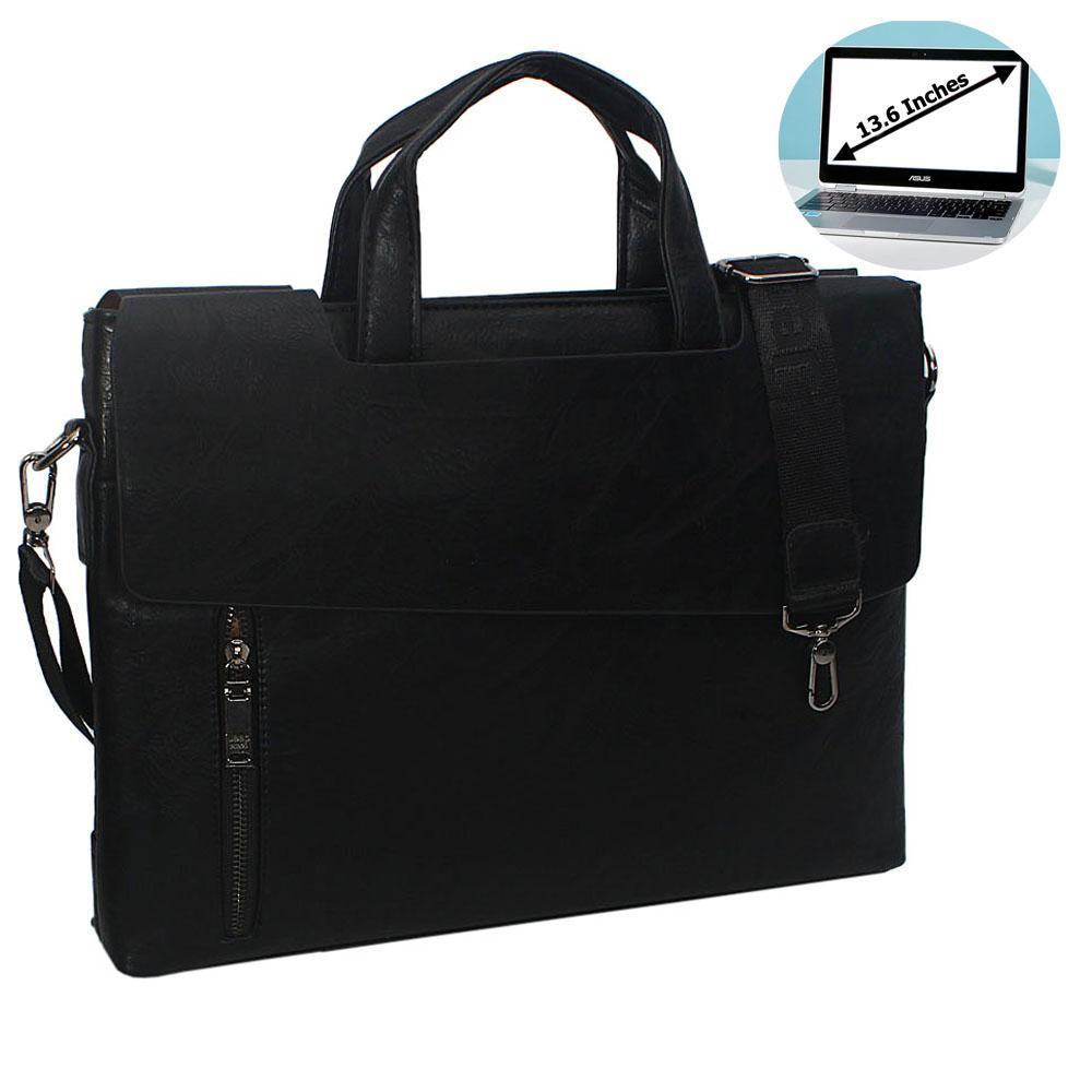 Black Esteban Leather Double Flap Briefcase