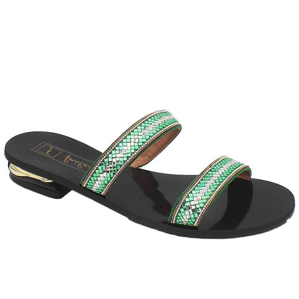 Green Crystal Studded Leather Flat Slippers