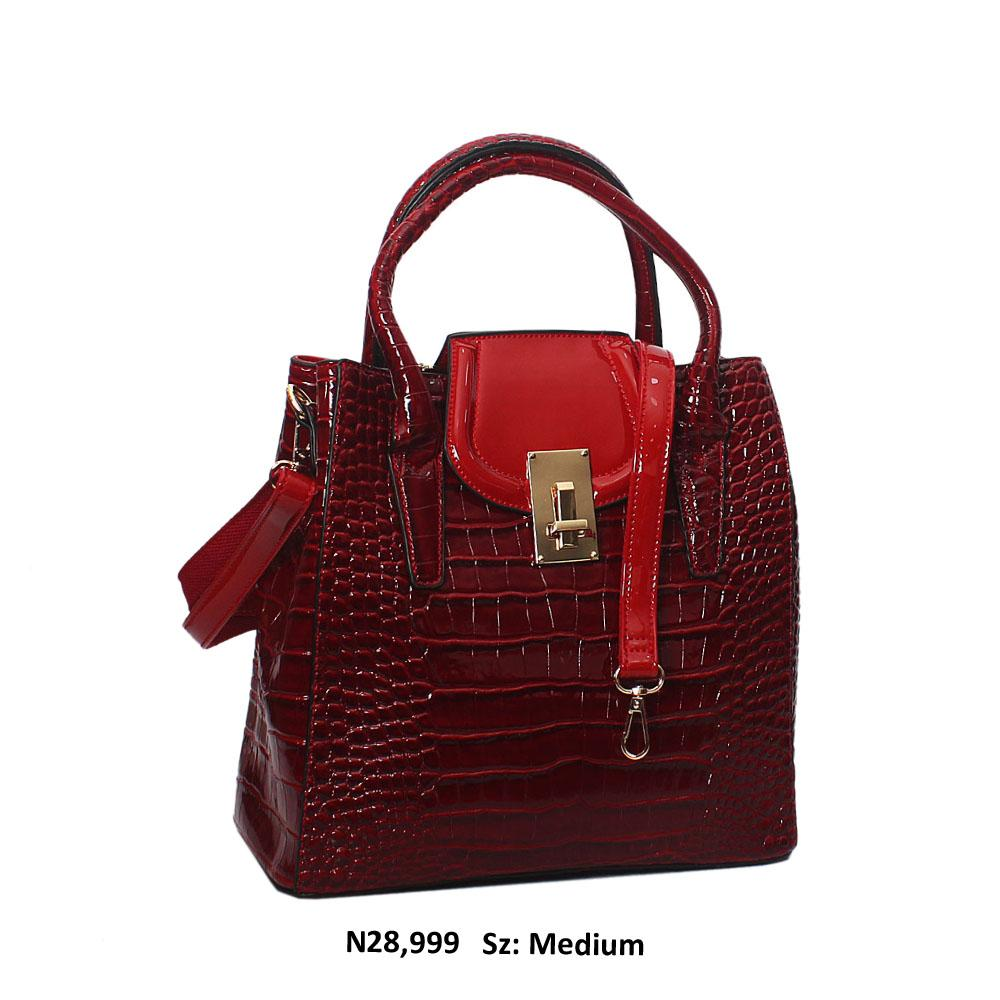 Red Croc Simona Style Patent Leather Tote Handbag