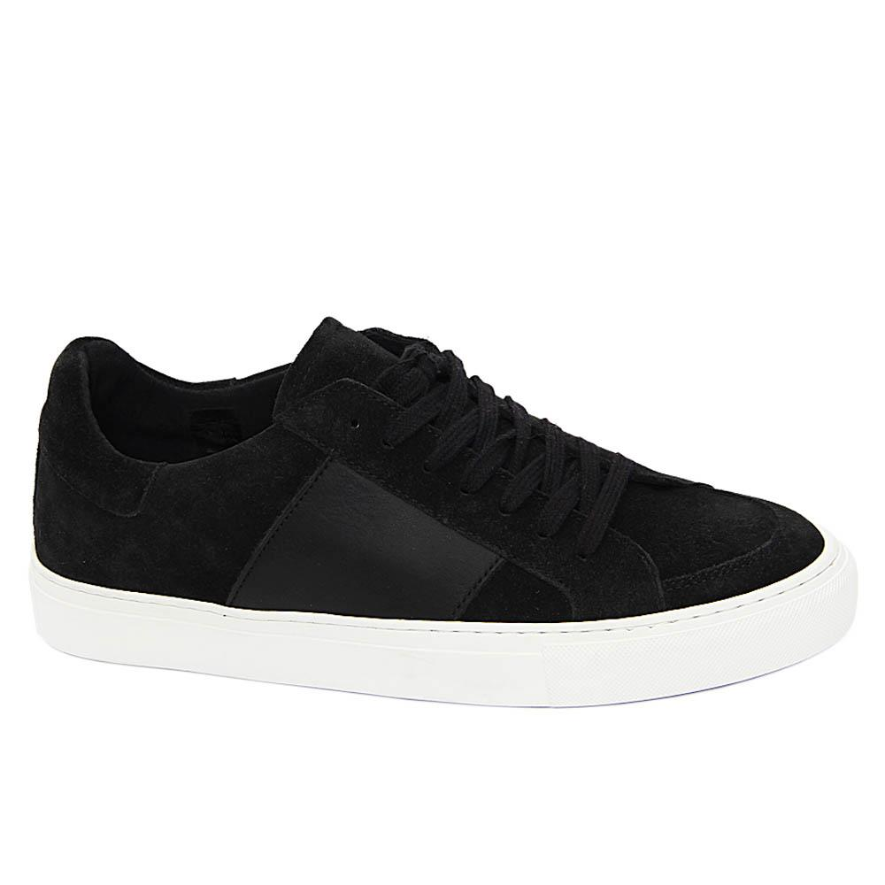 Black Quinton Suede Leather Sneakers