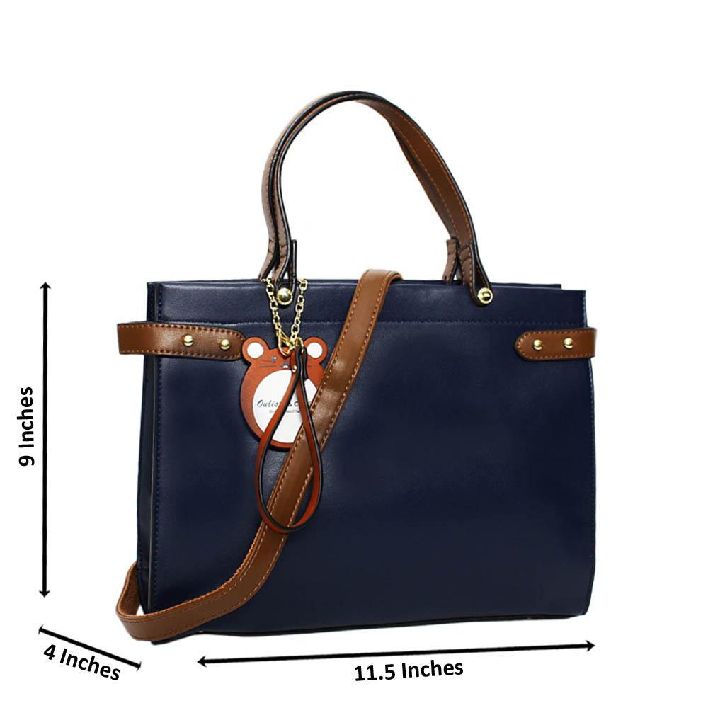 Navy Erika Leather Medium Tote Handbag