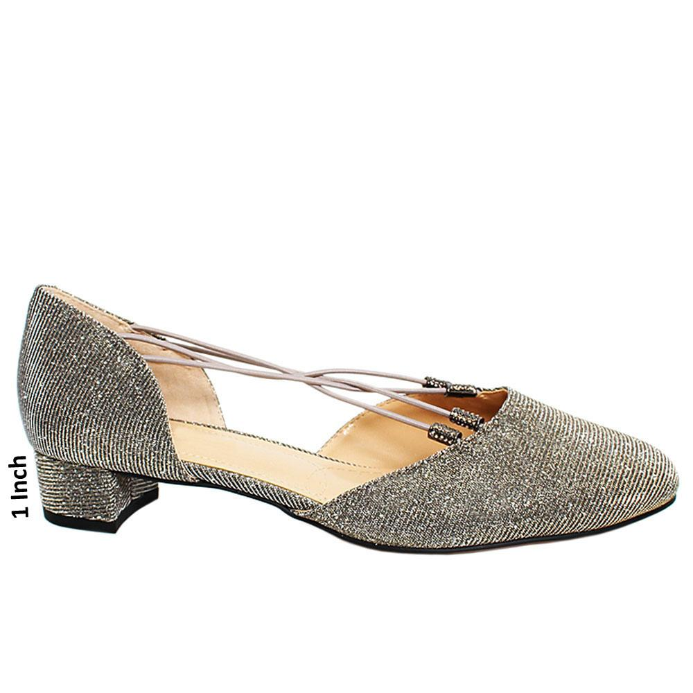 Gray Rockymid Glitter Fabric Leather Low Heel