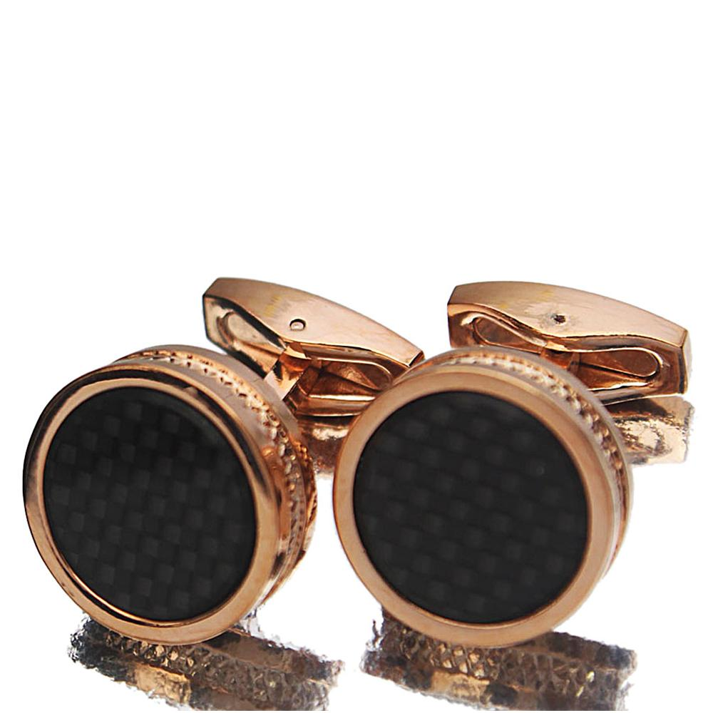 Gold Black Etched Pearl Stainless Steel Cufflinks