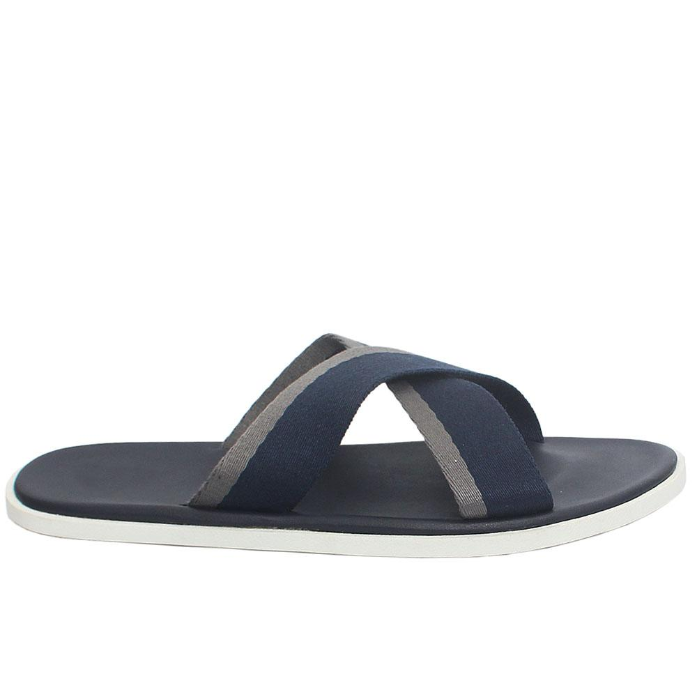 Navy Arrio Fabric Strap Leather Men Slippers