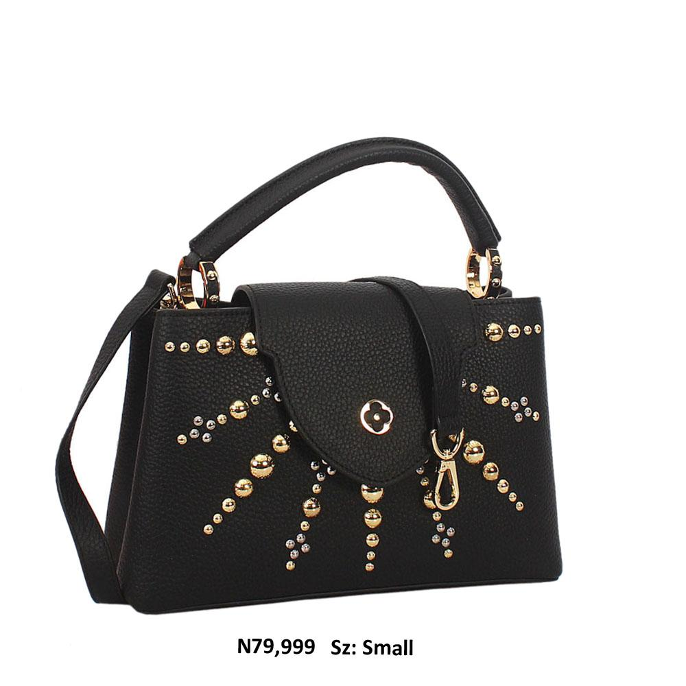 Black Studded Connie Marz Leather Small Top Handle Handbag