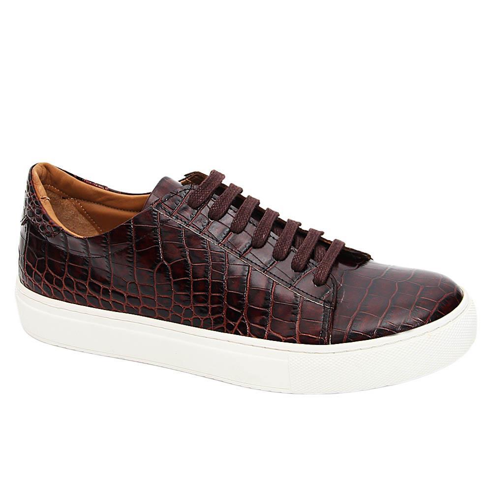 Coffee Agata Croc Italian Leather Sneakers