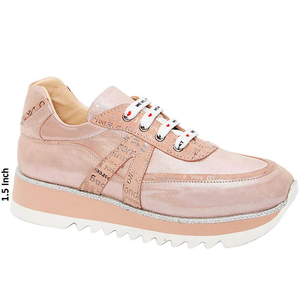 Soft Pink Diana Ross Glitz Tuscany Leather Ladies Sneakers