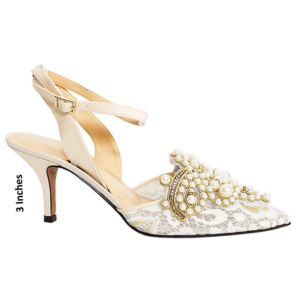 White Pearl Studded Desmond Satin Heel
