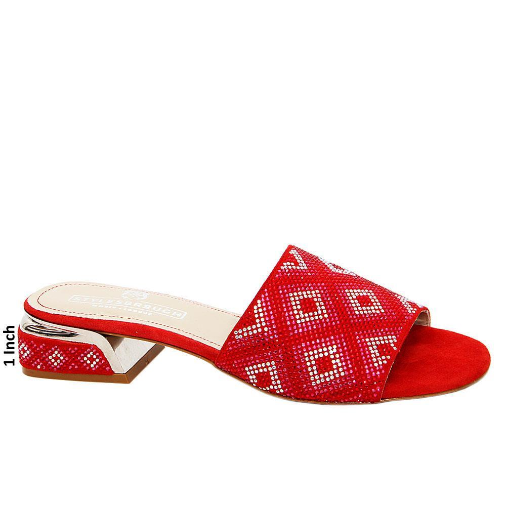 Red Alexa Studded Italian Leather Low Heel Mule