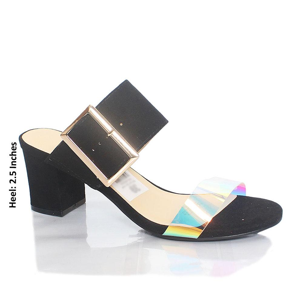 Black Gasha Reflective Rubber Suede Leather Mule