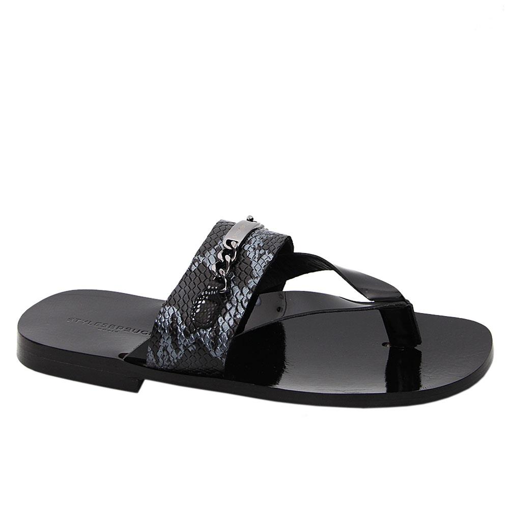 Black-Gray-Felipe-Italian-Leather-Slippers