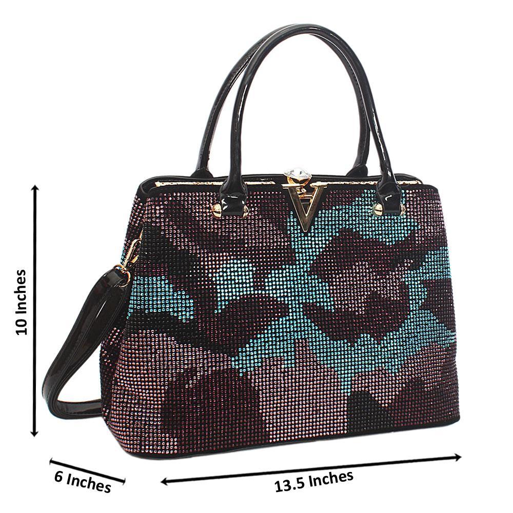Black Blue Mix Belinda Studs Suede Leather Tote Handbag