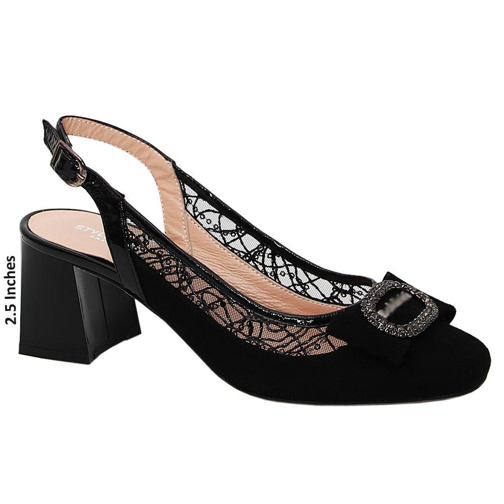 Black Netty Viola Suede Tuscany Leather Mid Heel Slingback Pumps
