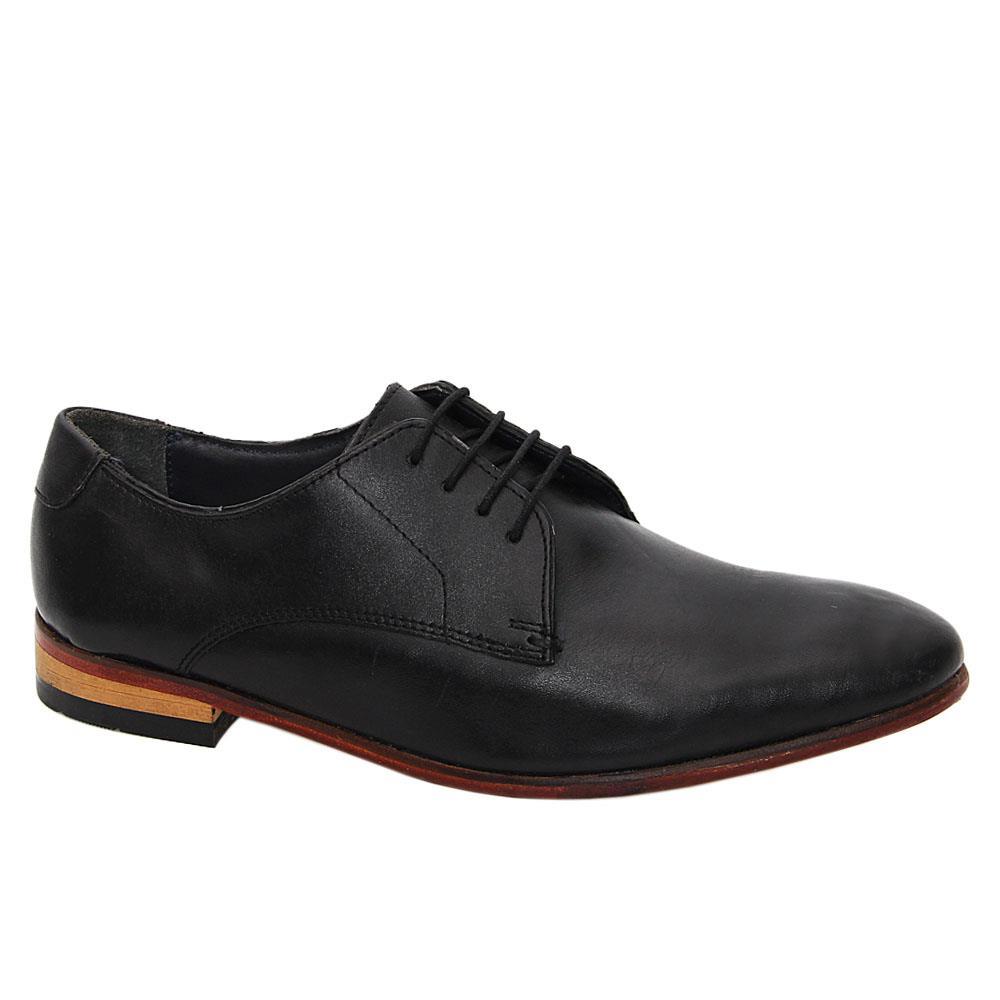 Black Leather Men Derby Shoes