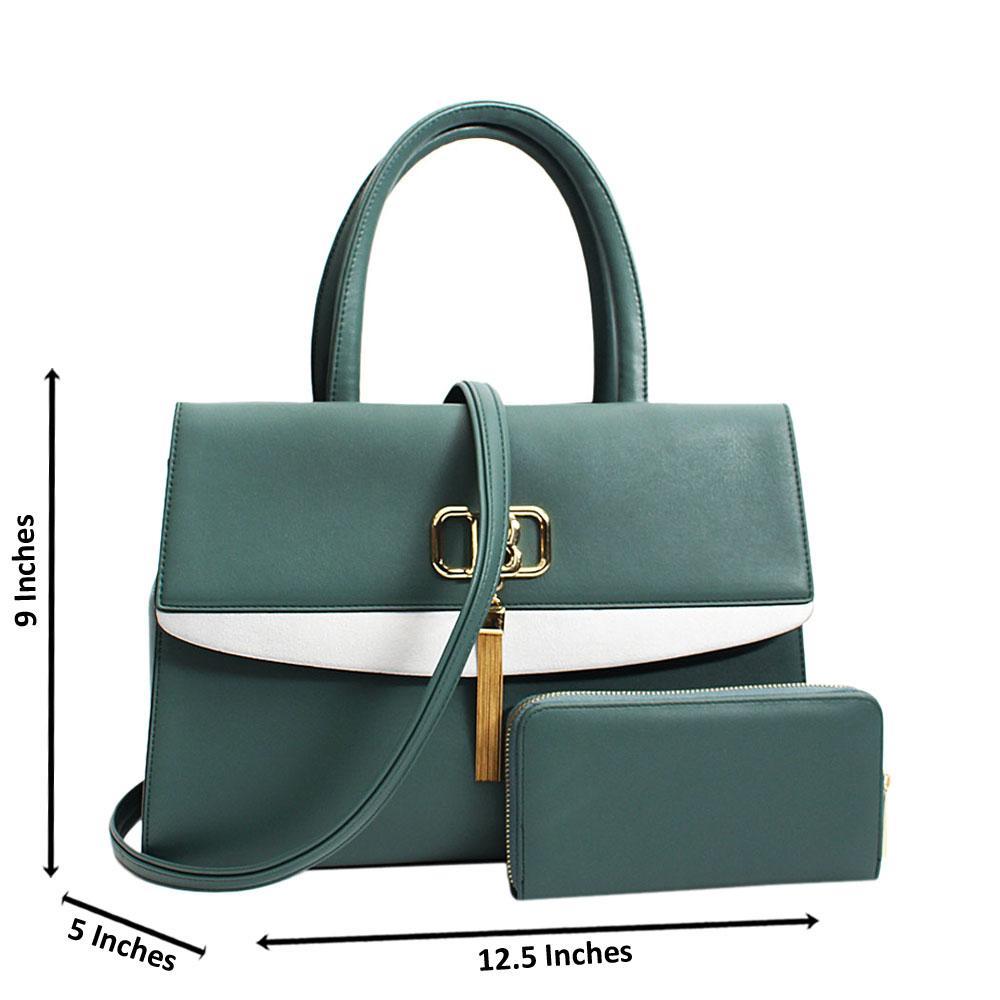 Tilt Green Graziella Leather Medium Tote Handbag