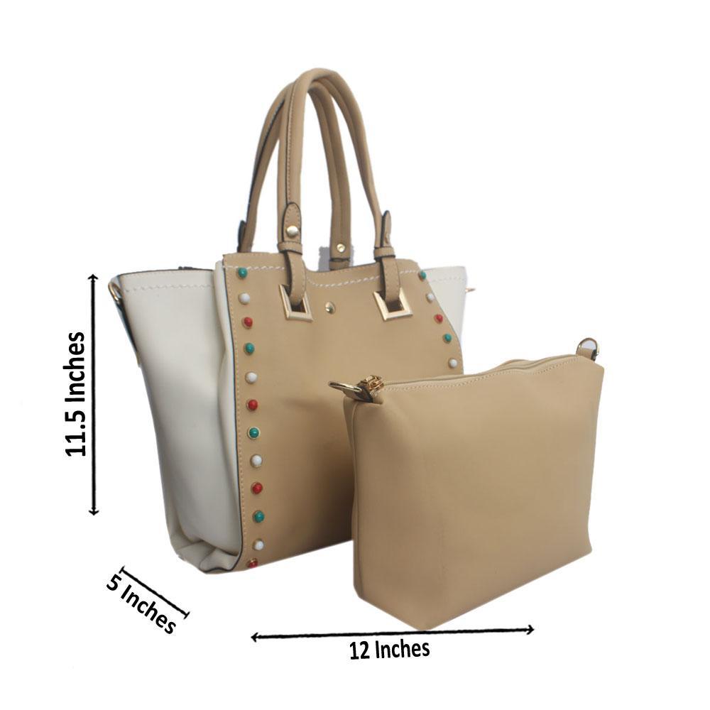Khaki White Studded Leather Tote Handbag