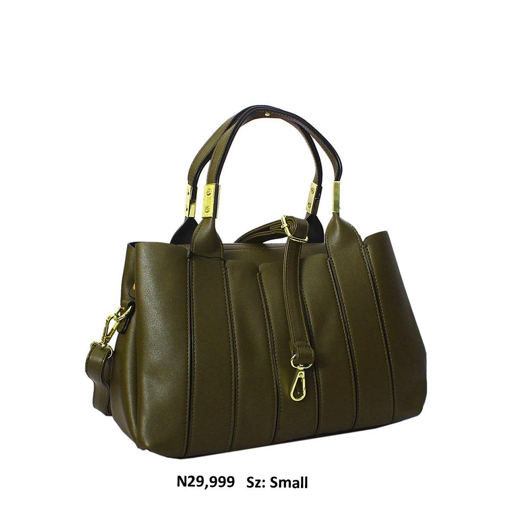 Army Green Arianna Leather Tote Handbag