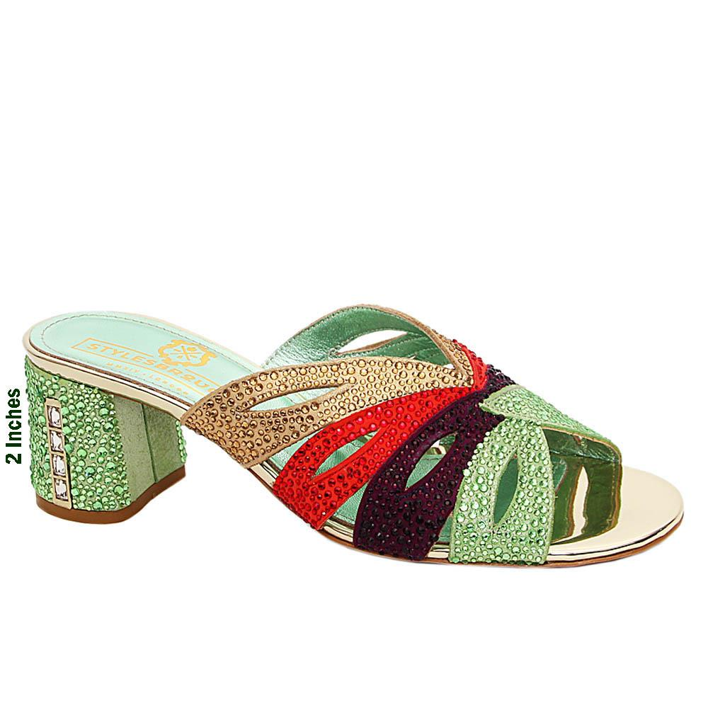 Green Mix Concetta Studded Italian Leather Mid Heel Mule