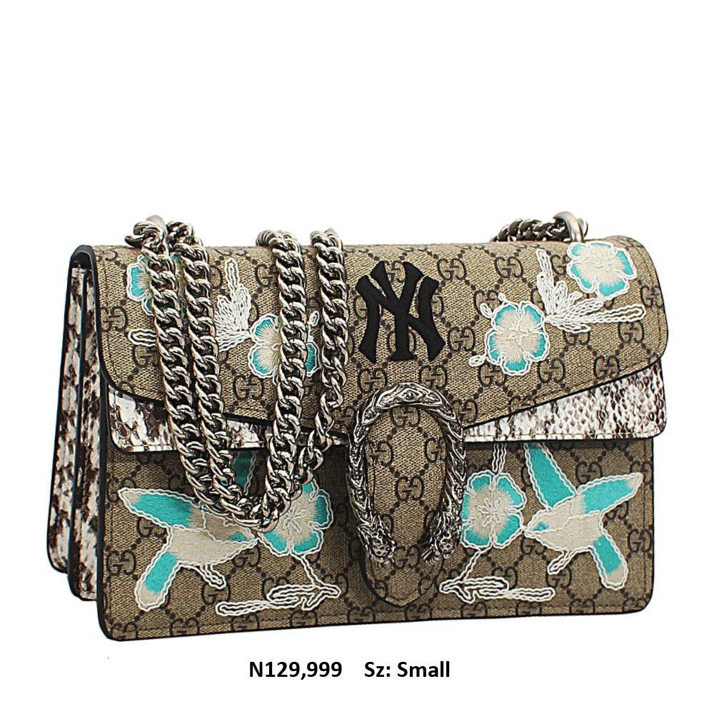 Grey-Mix Pattern Saffiano Leather Chain Crossbody Handbag