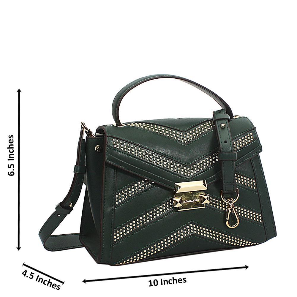Green Studded Cowhide Leather Mini Top Handle Handbag