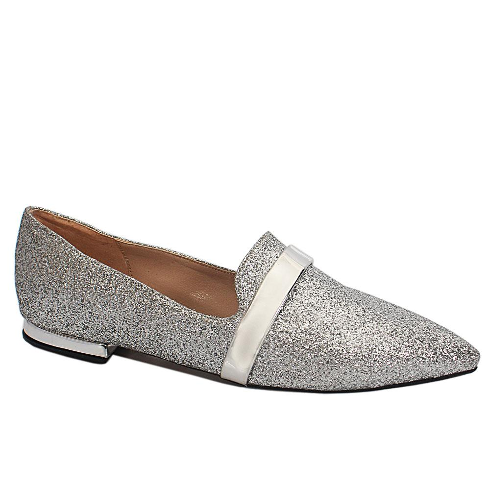 Silver Shimmering Leather Pointed Toe Flat Shoes