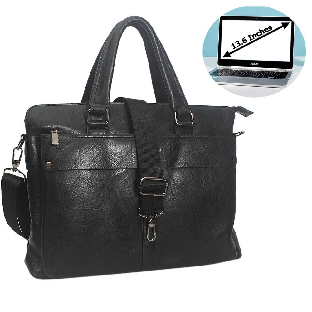 Black Rodrigo Leather Briefcase