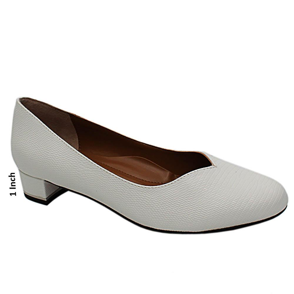 White Sicilia Snake Petent Leather Low Heel Pumps
