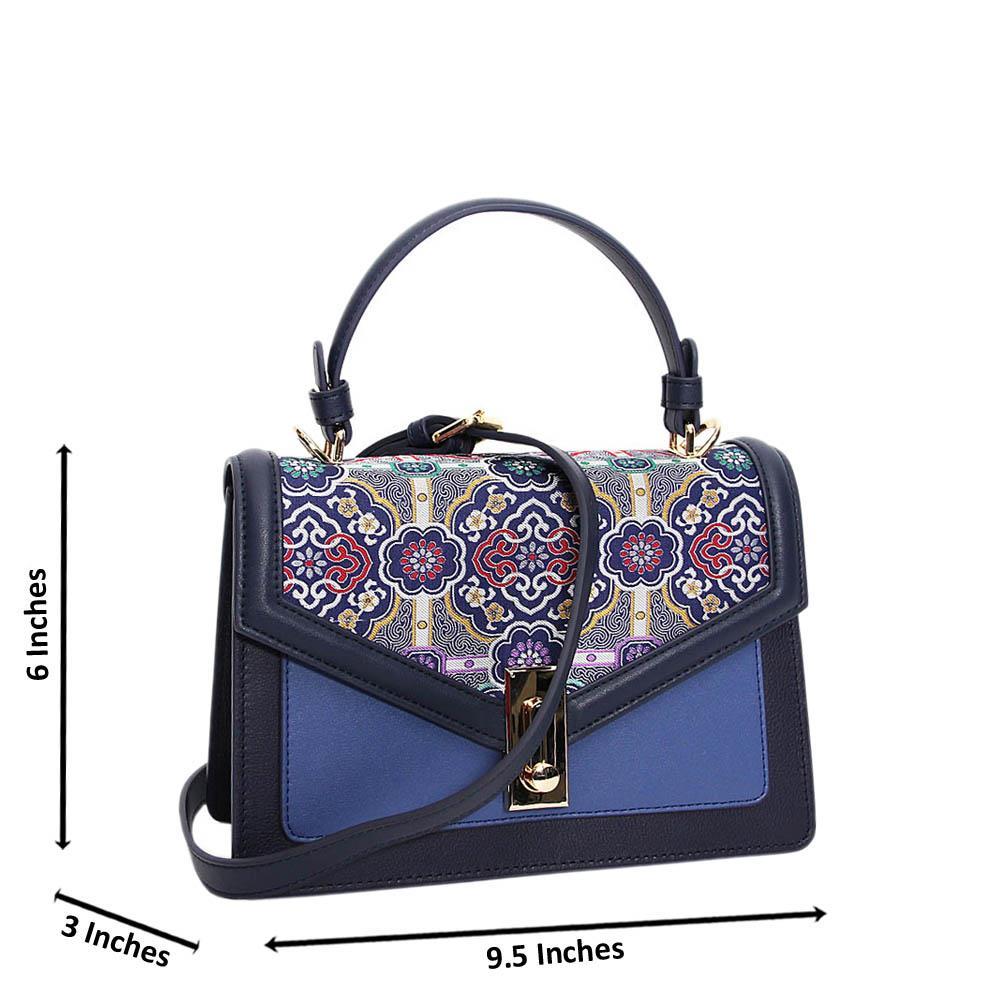Navy Blue Thea Premium Leather Mini Handbag