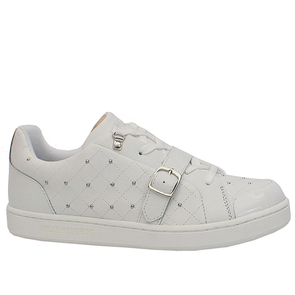 White Studded Leather Sneakers Wt Buckle