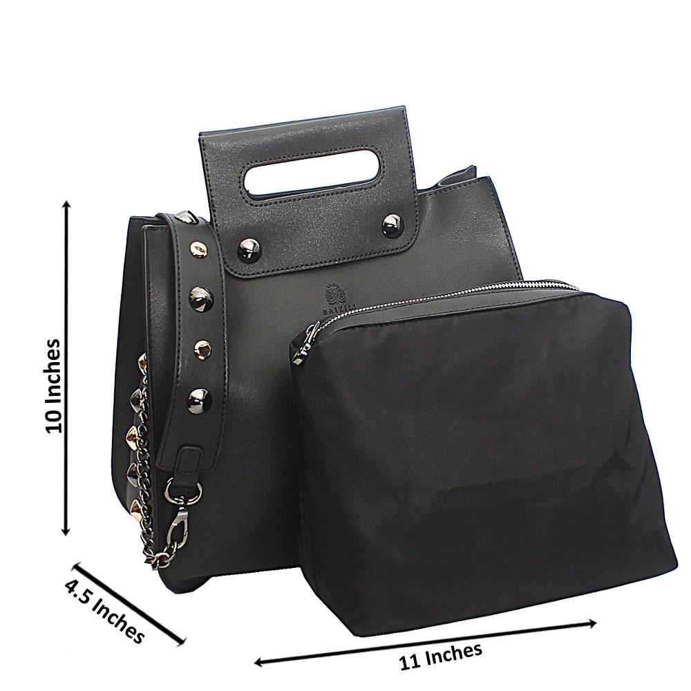 Black Stud Italian Leather Top Handle Handbag