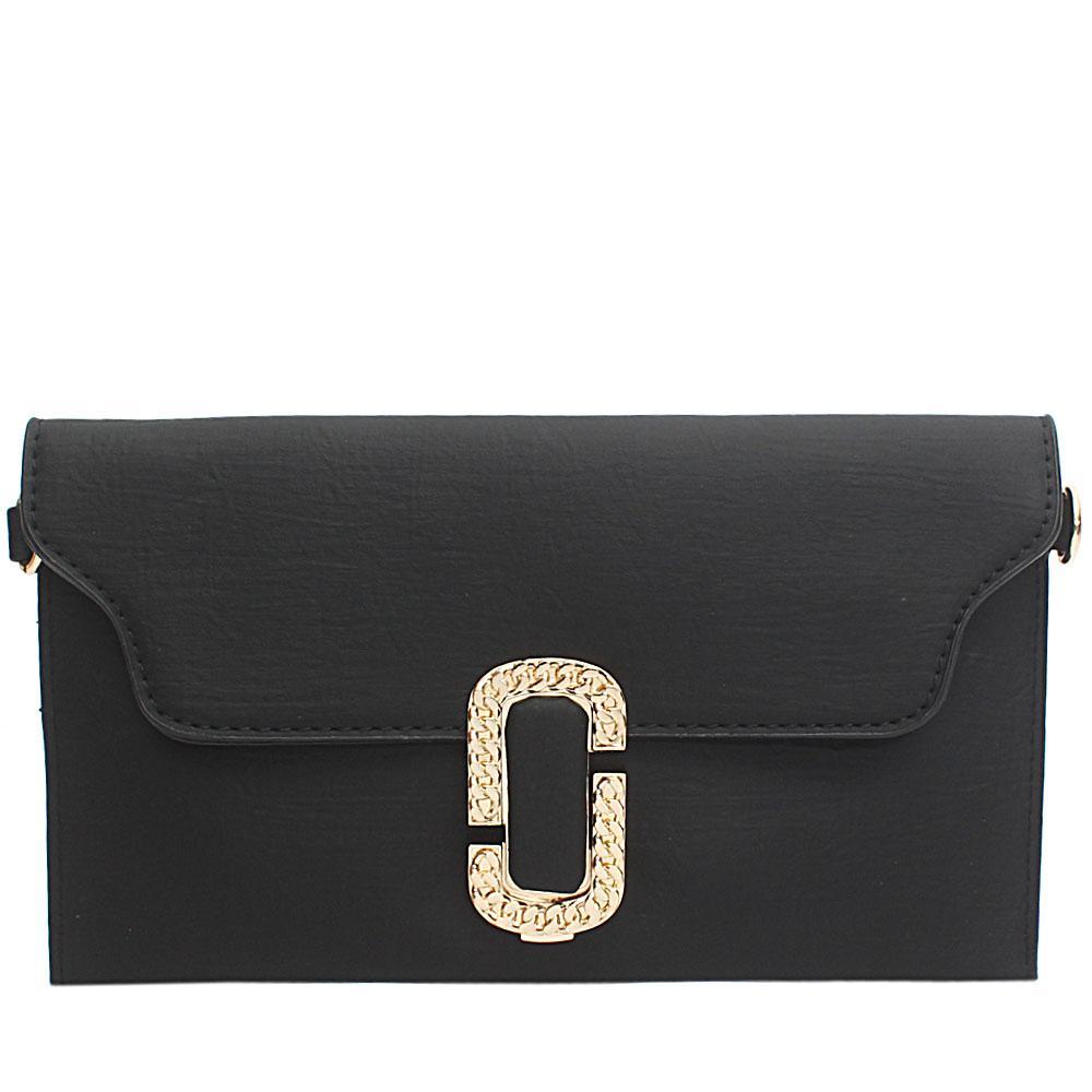 Black Sylvia Leather Flat Purse