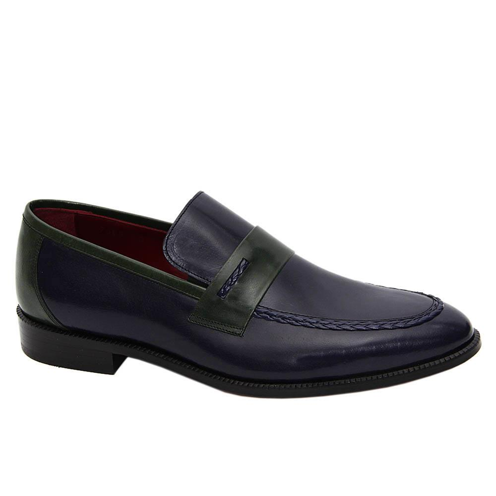 Navy Green Enrico Italian Leather Loafers