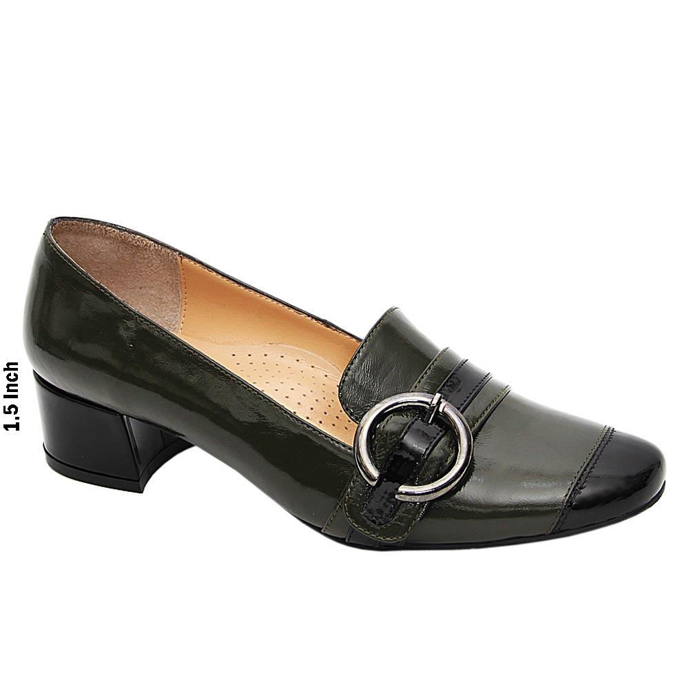 Army Green Black Zenaida Patent Italian Leather Mid Heel Pumps