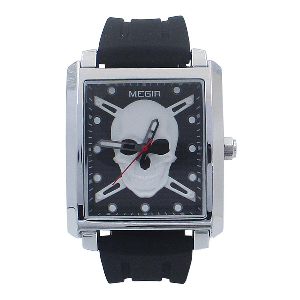 Silver Black Rubber Strap Pirate Watch