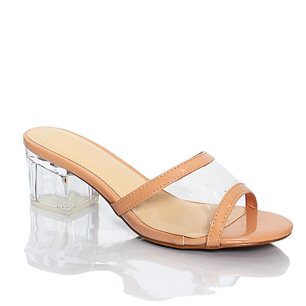 Beige Transparent Rubber Leather 2 Inch Block Heel Mule Slippers