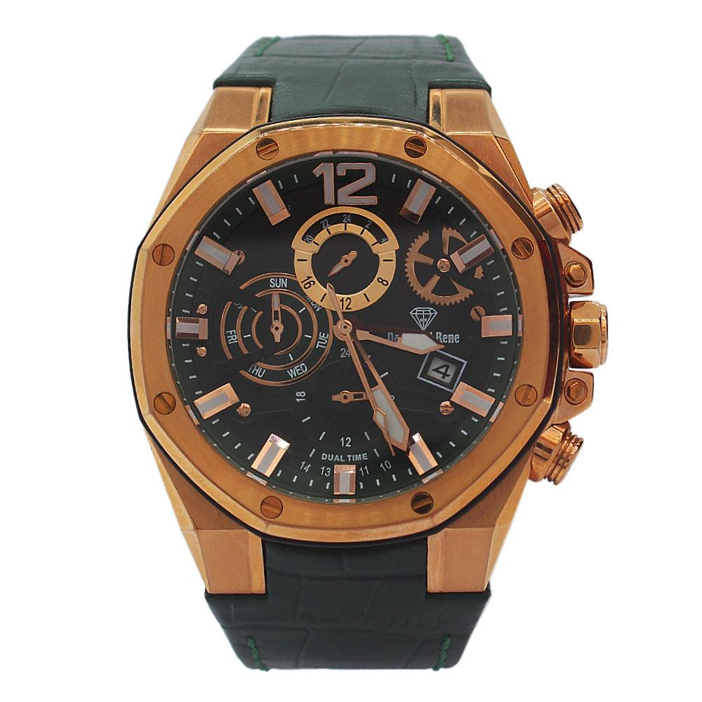 DR 10ATM Gold Green Leather Chronograph Watch