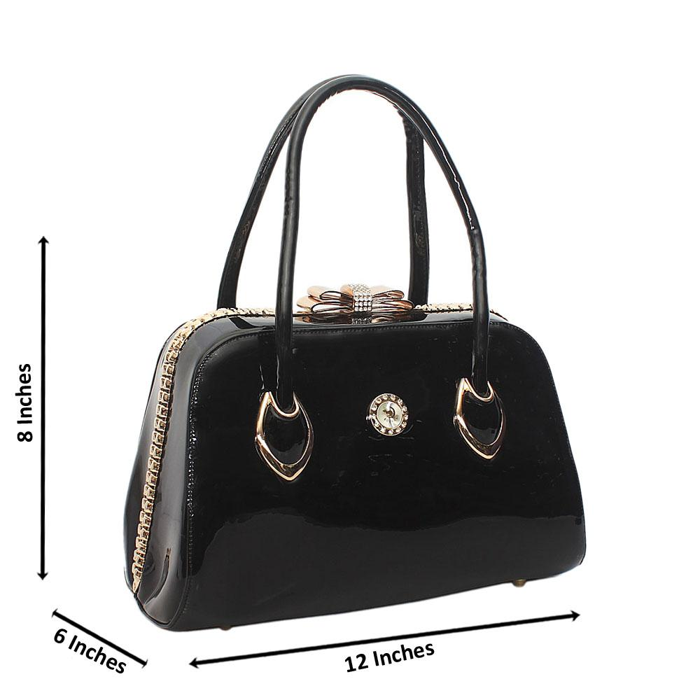 Black Galina Patent Leather Tote Handbag