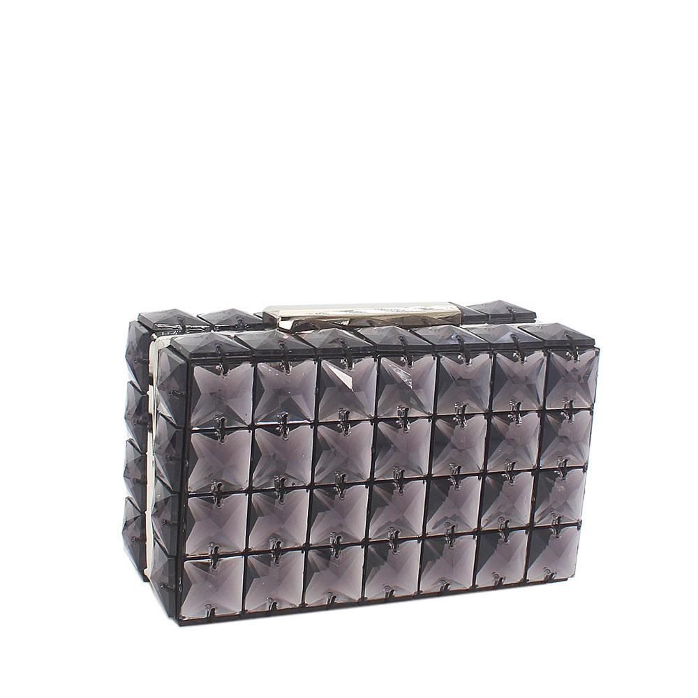 Black Bebe Rose Ceramic Clutch Purse