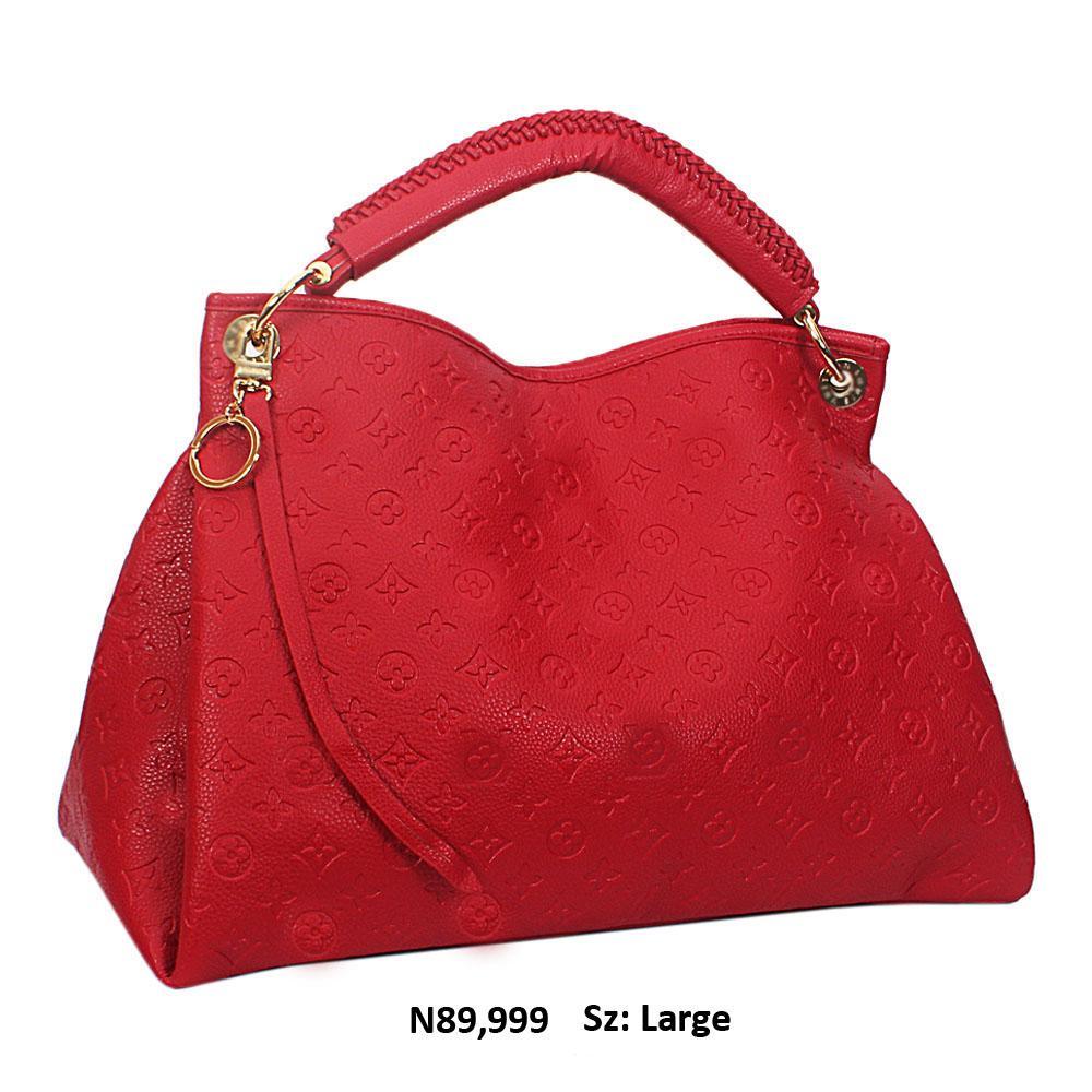 Red Cowhide Leather Big Designer Handbag