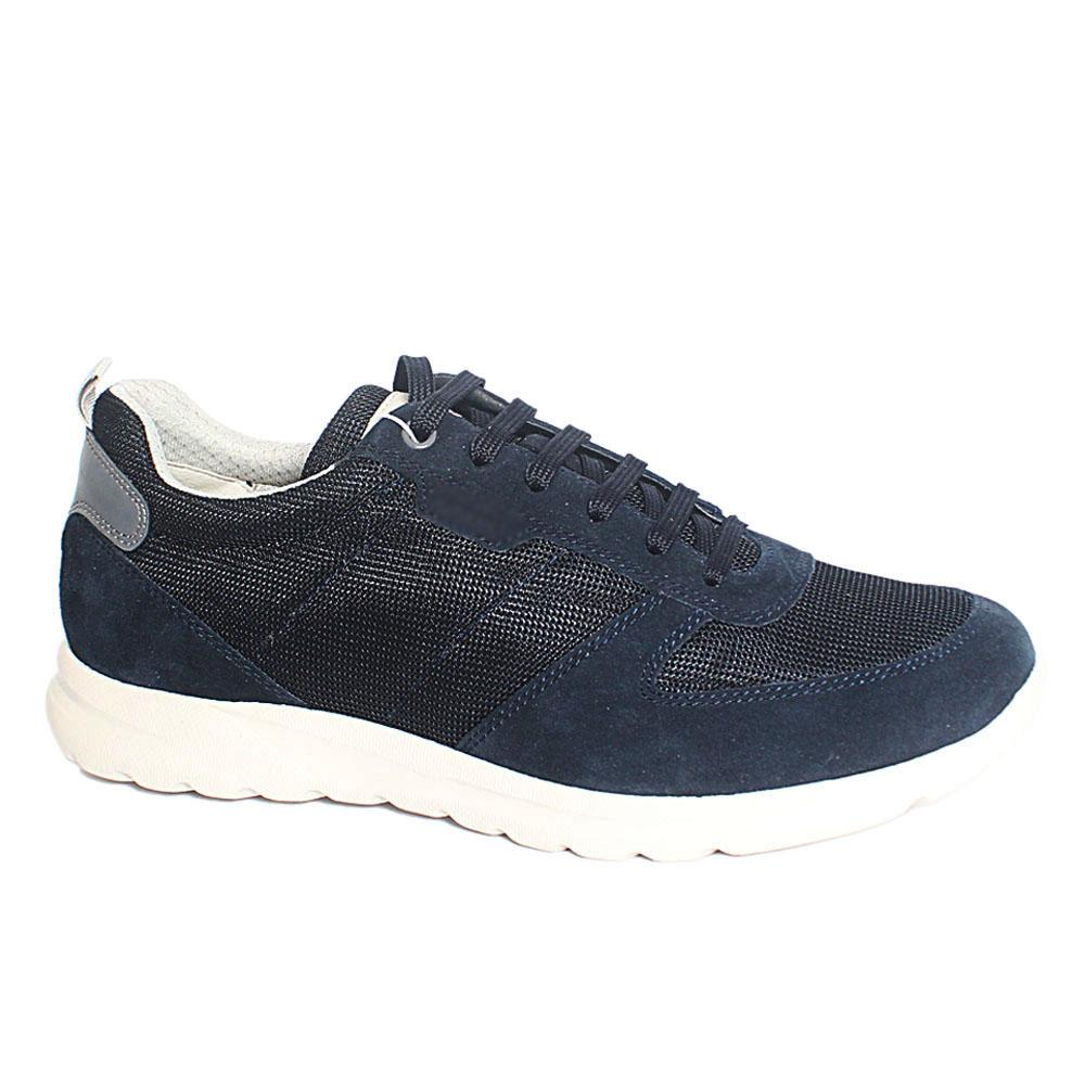 Navy Damian Fabric Suede Leather Sneakers