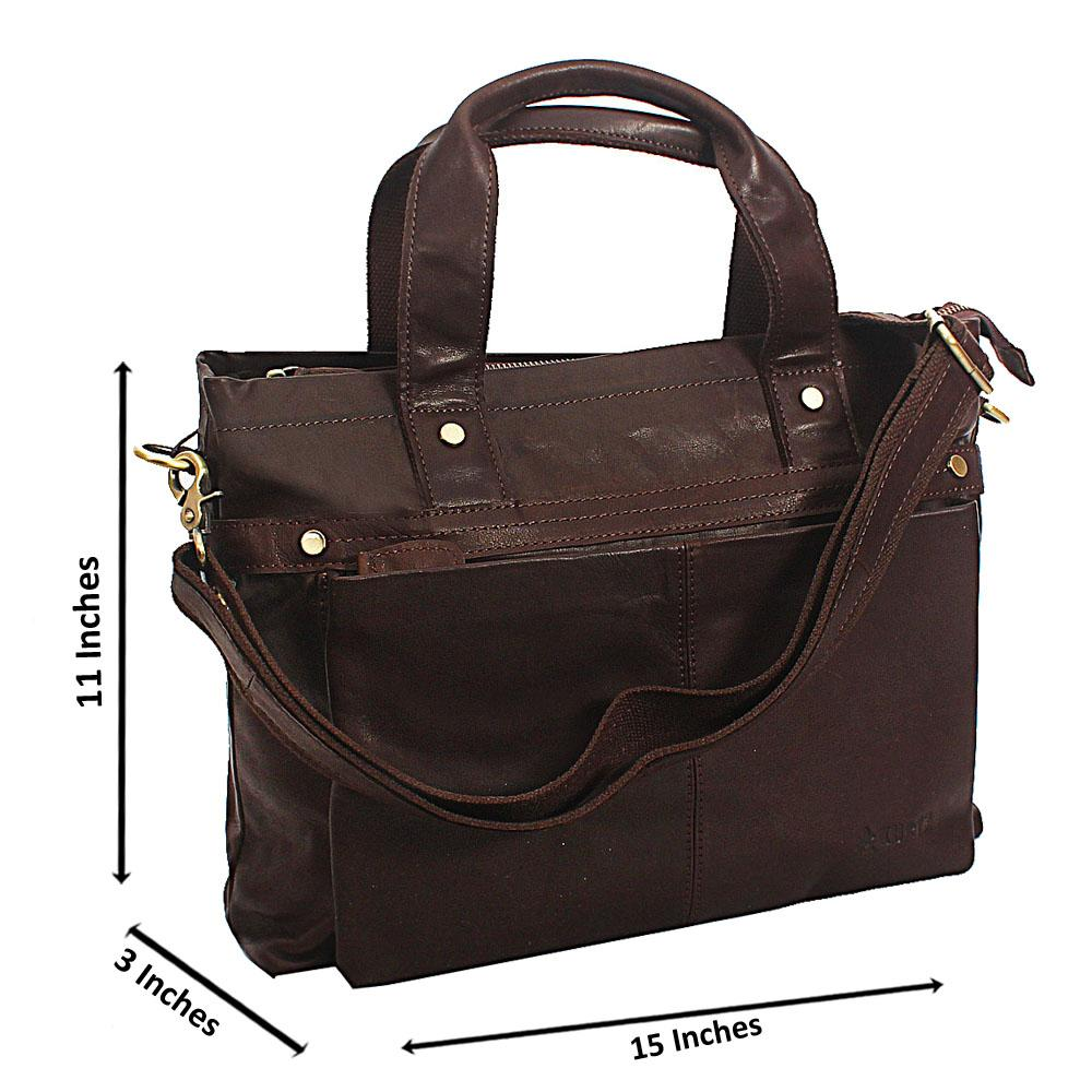 Brown Classic Smooth Grain Leather Tote Man Bag